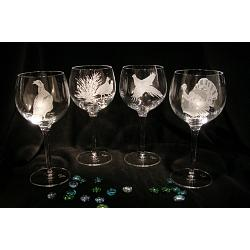 Crystal Game Bird Wine Glasses 1